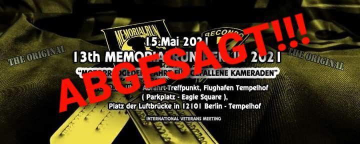 13. Memorial Run Berlin – ABSAGE