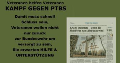 Veteranen erwarten von der Bundeswehr Hilfe und Unterstützung bei PTBS